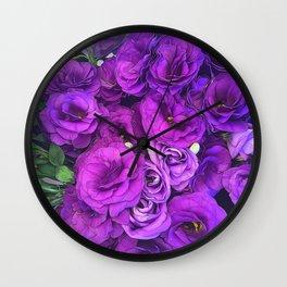 Purple Lisianthus Flowers Wall Clock