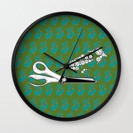 Button Bird on Scissors Wall Clock