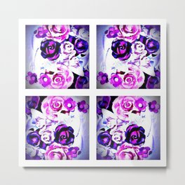 Purple Floral Panel Metal Print