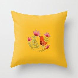 mandala bird Throw Pillow