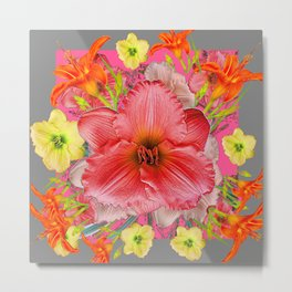 YELLOW PINK & CREAM DAYLILIES GREY GARDEN PATTERNS Metal Print