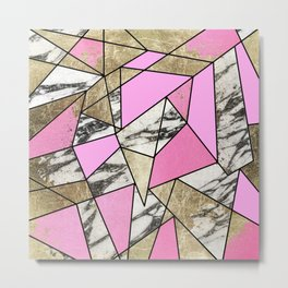 Girly Pink Geometric Gold and Modern Marble Metal Print
