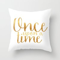 Throw Pillows featuring Once Upon a Time - Gold by bookwormboutique