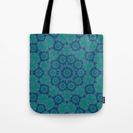 Jade , Aqua and Turquoise Symmetrical Pattern Tote Bag
