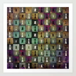 Paint and Print  Chessboard and Chess Pieces pattern Art Print
