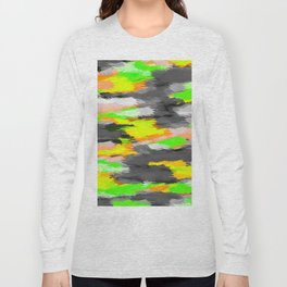 psychedelic camouflage splash painting abstract in orange green yellow and black Long Sleeve T-shirt