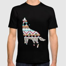 Wild Soul - Aztec Navajo Wolf LARGE Black Mens Fitted Tee