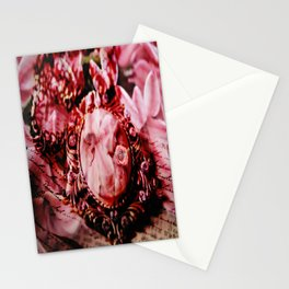 Vintage woman in collar on a unique floral background Stationery Cards