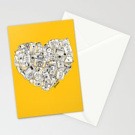 Camera Heart - on yellow Stationery Cards