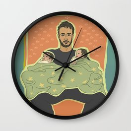 Father with Twins Wall Clock
