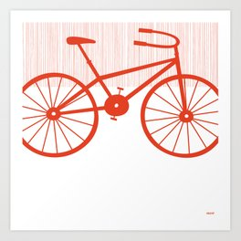 Red Bike by Friztin Art Print