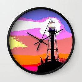Sanibel Island Lighthouse Mixed Media Art Wall Clock