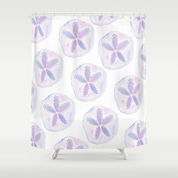 Incroyable Mermaid Currency   Purple Sand Dollar Shower Curtain