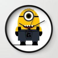 minion Wall Clocks featuring Minion by Ian Zandi