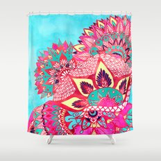 Bohemian boho red blue floral paisley pattern Shower Curtain