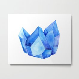 Watercolor Sapphire Metal Print