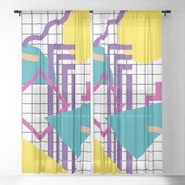 Memphis Pattern - 80s Retro White Sheer Curtain