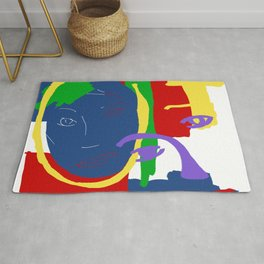 Abstract Painting Female Face Rug