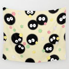 Spirited Away Soot Sprites with Konpeito Sugar Candy  Wall Tapestry