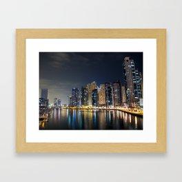 Dubai Marina on a cold night Framed Art Print