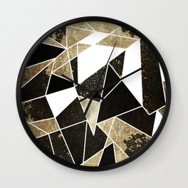 Modern Rustic Black White and Faux Gold Geometric Wall Clock