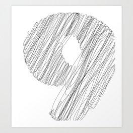 """ Cloud Collection "" - Minimal Number Nine Print Art Print"