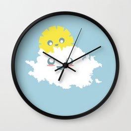 Sun and Cloud Friends Wall Clock