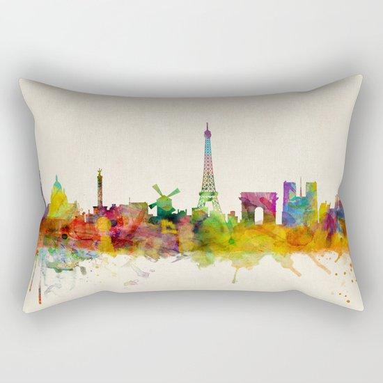 Paris Skyline Watercolor Rectangular Pillow