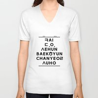"""exo V-neck T-shirts featuring EXO K- Hangeul: """"Love City"""" Inspired by 00yu"""