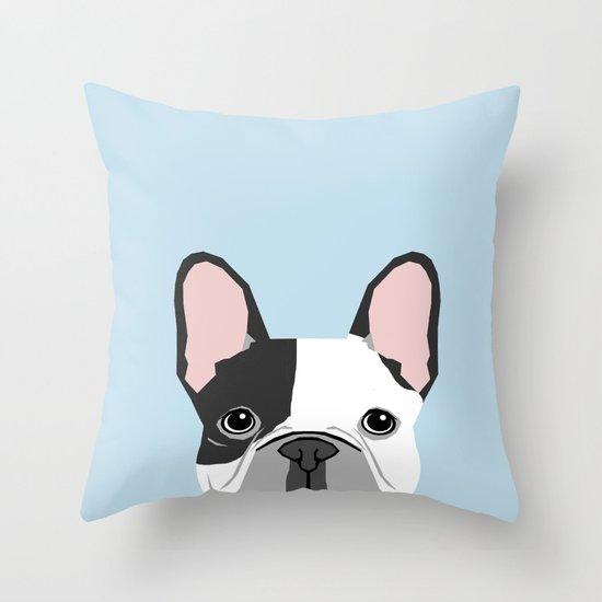 french bulldog art portrait - aqua light blue cute dog design Throw Pillow by PetFriendly Society6