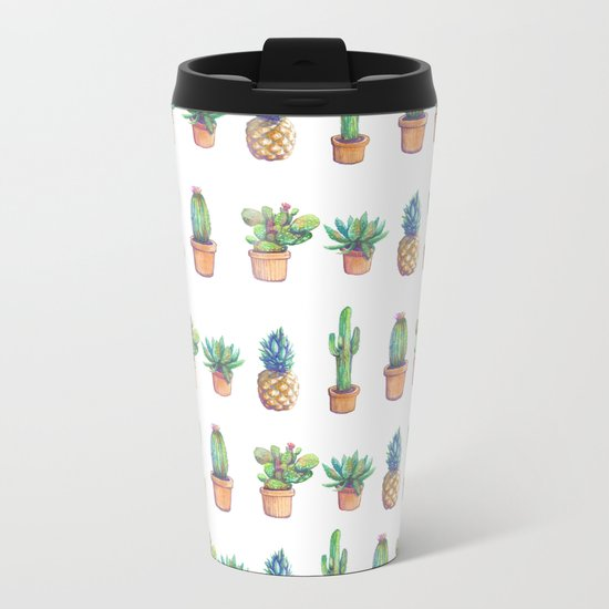 cactus and pineapples white! Metal Travel Mug