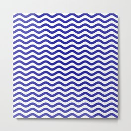Waves (Navy & White Pattern) Metal Print