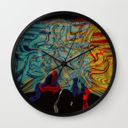 glitched story of the human life Wall Clock
