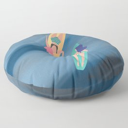 Surf Sisters - Muted Ocean Color Girl Power Floor Pillow