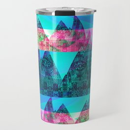 Retro Glitch Mountain Scene Travel Mug