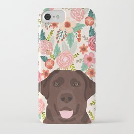 Chocolate Lab floral dog head cute labrador retriever must have pure breed dog gifts iPhone Case