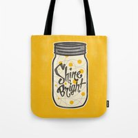 fireflies Tote Bags featuring Fireflies by Landon Sheely