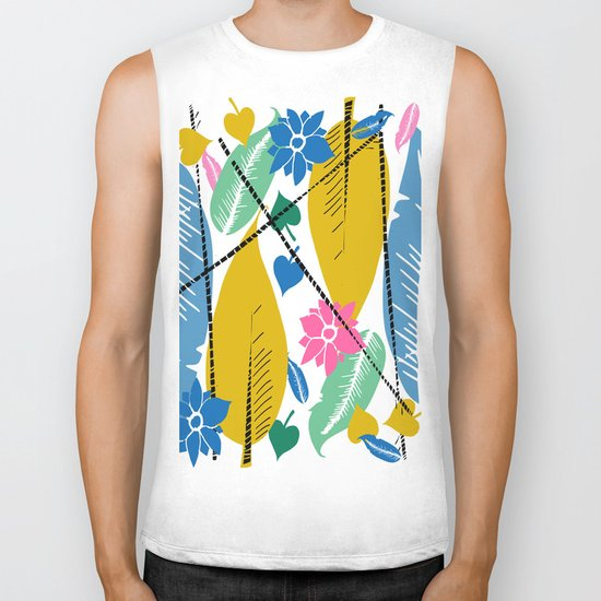 Feathers and leafs Biker Tank