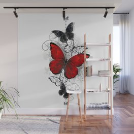 Red and Black Butterflies Wall Mural