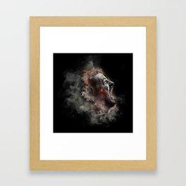 Burning face of man art Framed Art Print