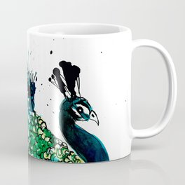Peacock profile ink splatter Coffee Mug