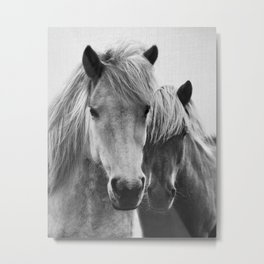 Horses - Black & White 7 Metal Print