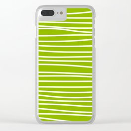 Apple Green & White Maritime Hand Drawn Stripes- Mix & Match with Simplicity of Life Clear iPhone Case