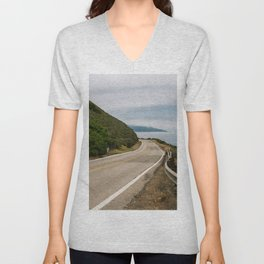 Big Sur Highway 1 Wall Art   California Nature Mountains Ocean Beach Coastal Travel Photography Print Unisex V-Neck