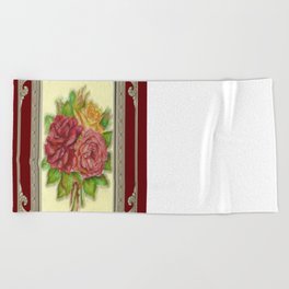 Bunch of Roses red design Beach Towel
