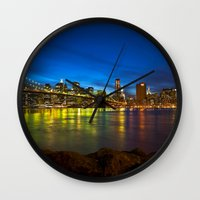 brooklyn bridge Wall Clocks featuring Brooklyn Bridge by Svetlana Sewell