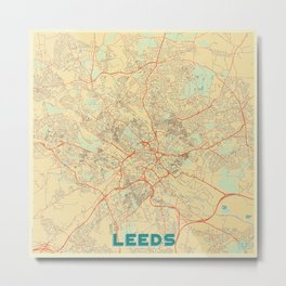 Leeds Map Retro Metal Print