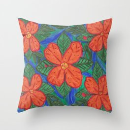 Luau Flower Print Throw Pillow