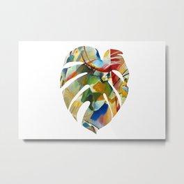 Monstera leaf in watercolor Metal Print