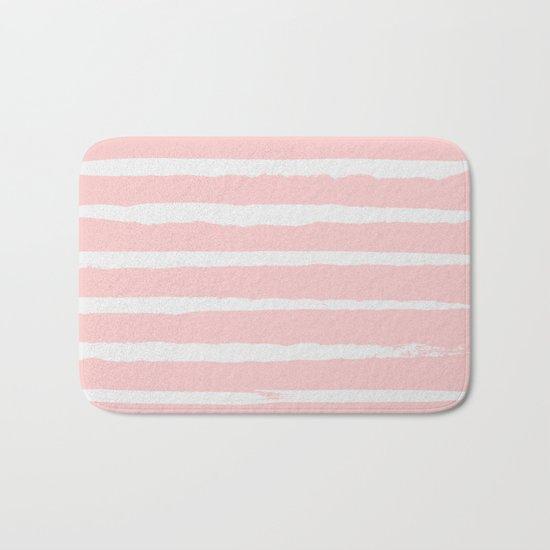 Irregular Hand Painted Stripes Pink Bath Mat